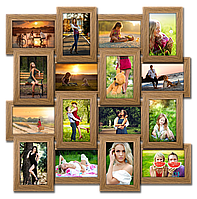 Мультирамка-коллаж Классическая на 20 фотографий 10х15 светлое дерево премиум с эффектом браширования