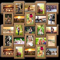 Мультирамка-коллаж Классическая на 25 фотографий 10х15 светлое дерево с эффектом браширования