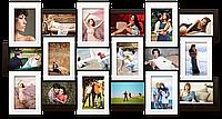 Мультирамка-коллаж Классическая на 18 фотографий 10х15 черно-белая премиум