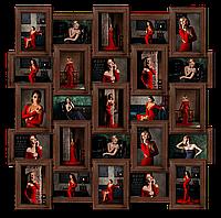 Мультирамка-коллаж Классическая на 25 фотографий 10х15 коричневая  премиум