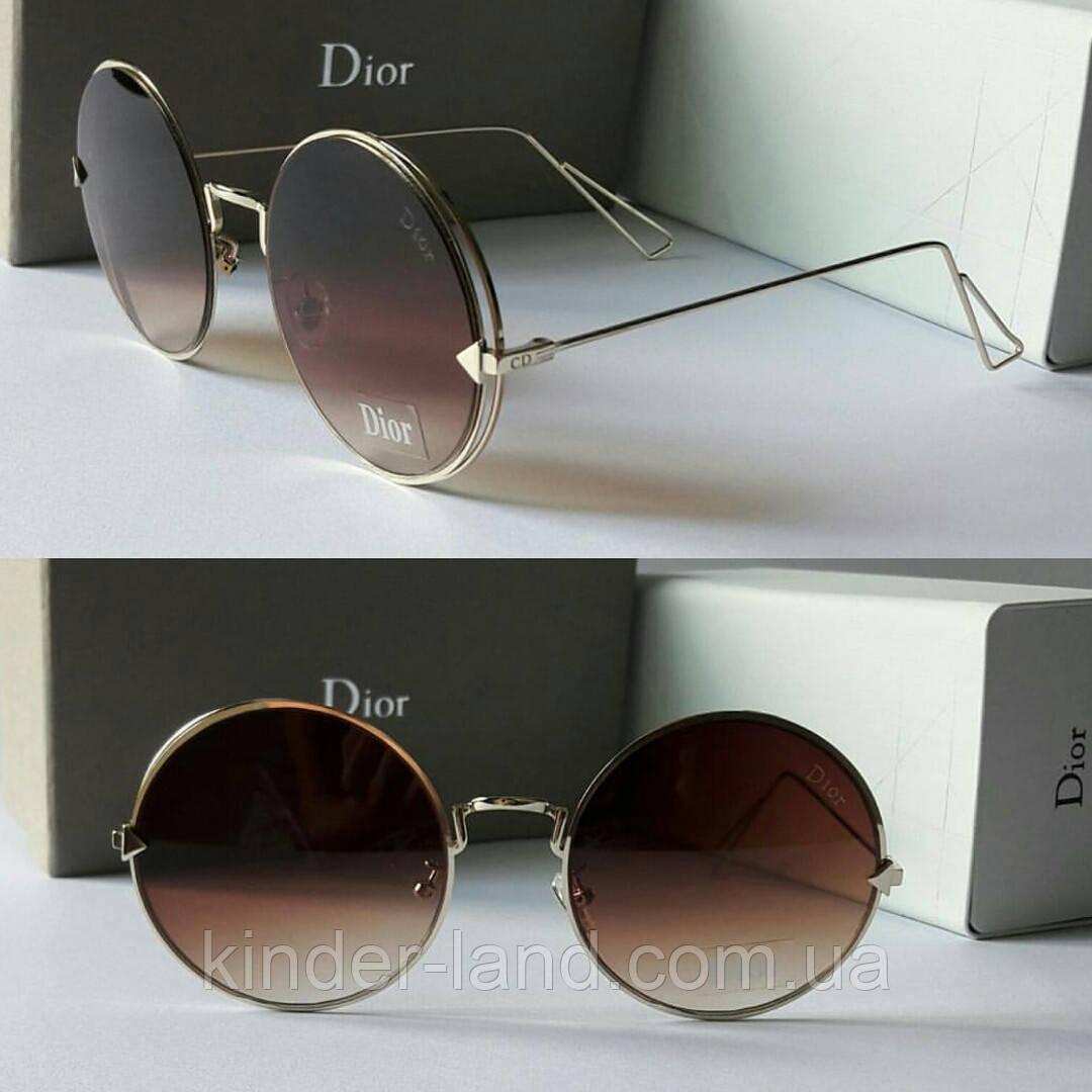 Солнцезащитные очки Dior круглые коричневые - Интернет-магазин