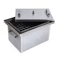 Коптильня горячего копчения с гидрозатвором усиленная 2 мм (375х250х250 мм)