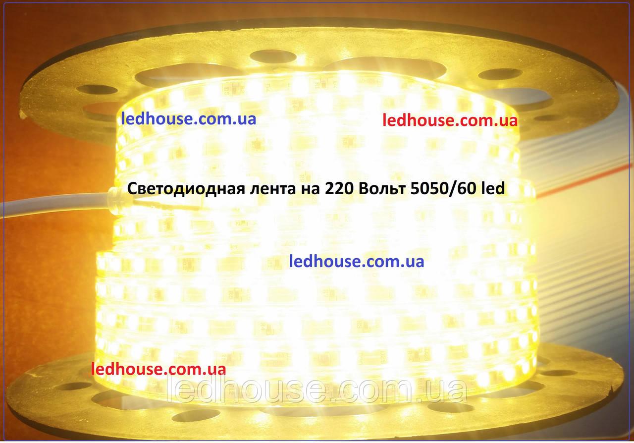 Светодиодная лента 220V SMD 5050 60 IP68 PremiumТеплый белый