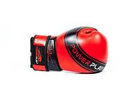 Боксерские перчатки из кожи, уплотнение на запястье Power Play красный