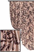 """Портьерная ткань блекаут Катрин """"Веточки"""" двухсторонняя, цвет морозный беж-темный шоколад (двусторонняя)"""