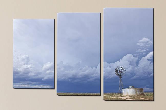 "Модульная картина ""Ветряк и тучи"", фото 2"