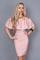 Стильное летнее женское платье с вырезом кармен