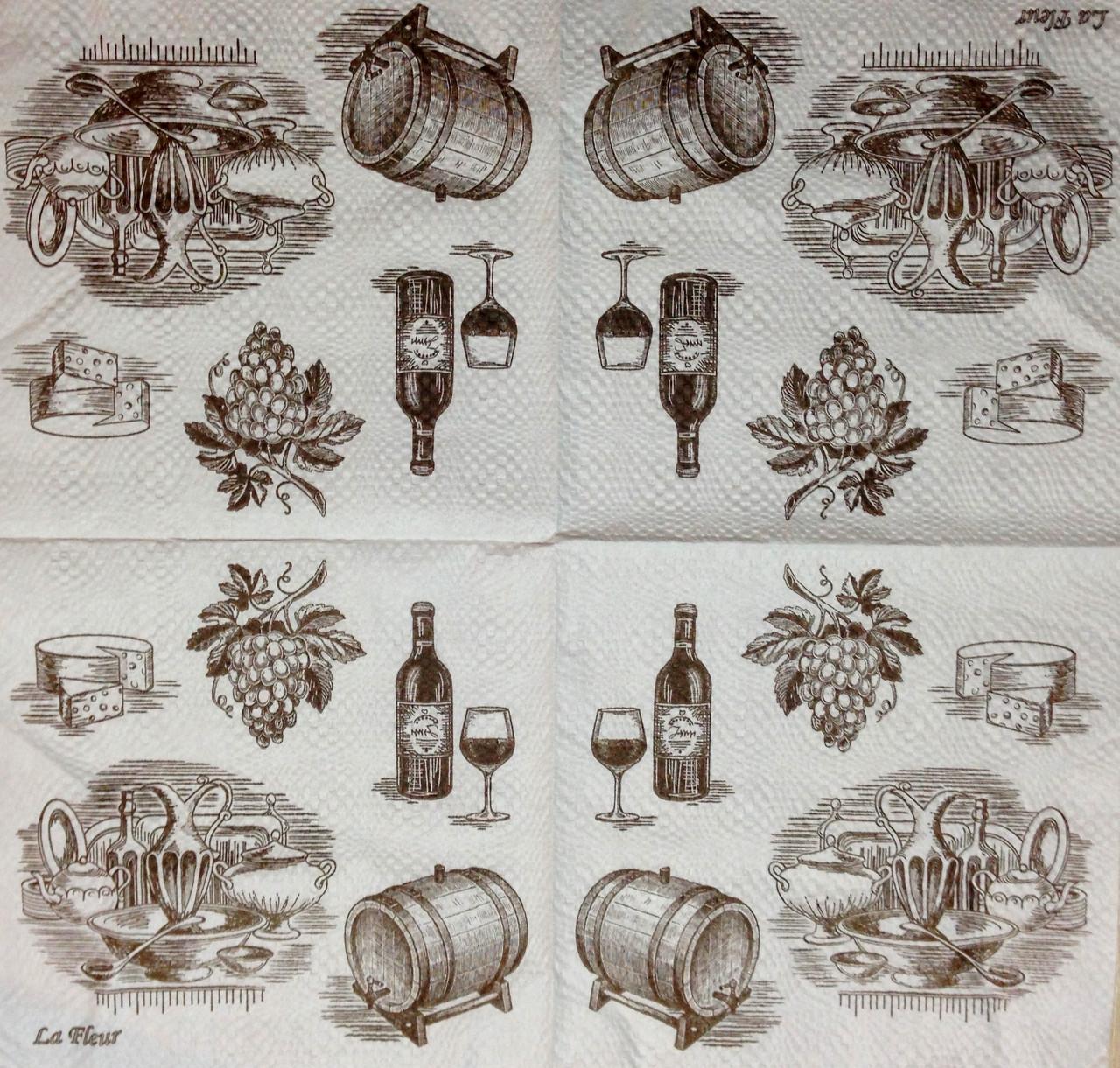 """Салфетка декупажная 33x33см 13 """"Кухонный сервиз и вино"""" - магазин-студия Цацки в Чернигове"""