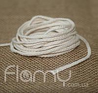 Фитиль плетеный косичка, хлопок, толщина 3 мм.