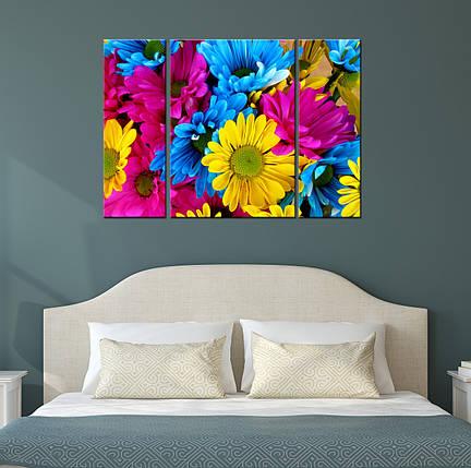 """Модульная картина """"Разноцветные цветы"""", фото 2"""