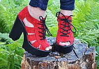 Босоножки на толстом каблуке IK-1674 (красный)