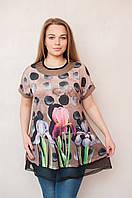 Женская туника с цветочным принтом
