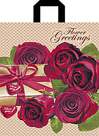 Пакет петля 30*35 Красные розы