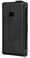Кожаный чехол флип для  Nokia Lumia 900 черный