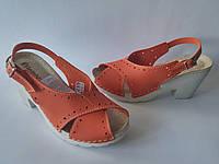Женские стильные удобные оранжевые босоножки на каблуке, ортопедическая стелька Inblu