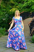 Летнее платье в пол с цветочным  принтом, без рукавов.