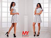 Платье  Штапельное  звёздочка с воланчиками цвет белый короткое