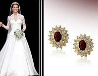 Сережки «Английская королева» с кристаллами Сваровски, купить