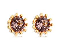 Серьги «Удивительный цветок» с кристаллами Сваровски, купить