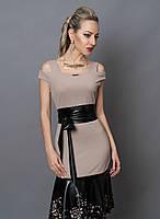 Нежное женское платье с перфорированной кожи 247-2