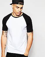 Стильная двухцвеная футболка с рукавами реглан white/black