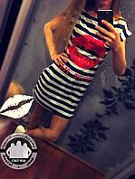 Платье - Морячка Губки, Цвет Черно-Белый