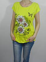 Футболка женская батал желтая стрейч размер XXL Турция