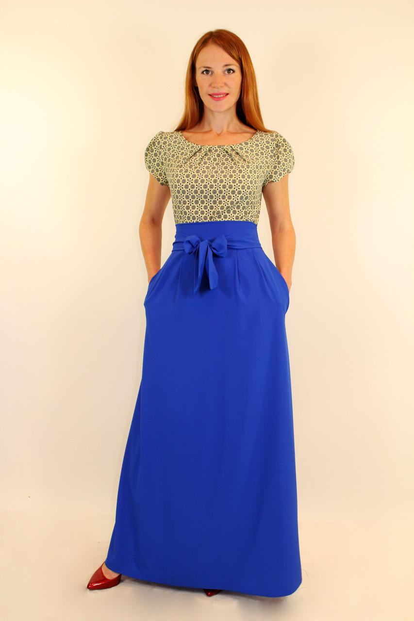 Летнее нарядное платье с длинной юбкой 44 р ( разные цвета )