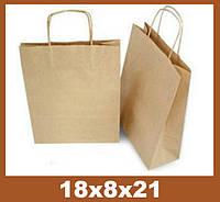 Бумажные пакеты, 18x8x21см, крафт Эко 100 гр.м, коричневый