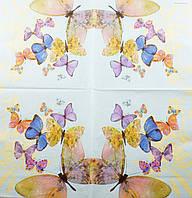 """Салфетка декупажная 33x33см 21 """"Весёлые бабочки на голубом фоне"""""""