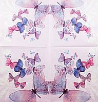 "Салфетка декупажная 33x33см 21 ""Весёлые бабочки на розовом фоне"" (товар при заказе от 200 грн)"