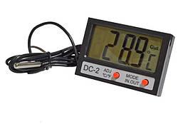 Термометр цифровой DC-2 с часами и двумя датчиками температуры (питание LR44, 1,5V) 1 метр мах t=120