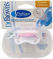 Соска-пустышка Dr. Brown's ортодонтическая PreVent 6-18 мес розовая 192-P