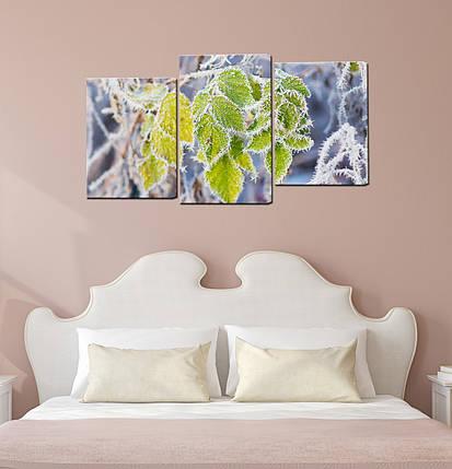 """Модульная картина """"Листья в инее"""", фото 2"""