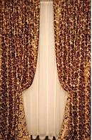 Портьерная ткань блекаут Ажур крупные завитки, цвет крем-брюле+шоколад