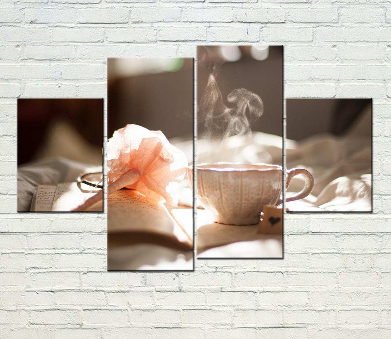 """Модульная картина """"Кофе и цветок"""""""