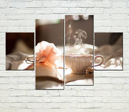 "Модульная картина ""Кофе и цветок"", фото 2"