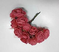 Цветок Роза с фатином красная