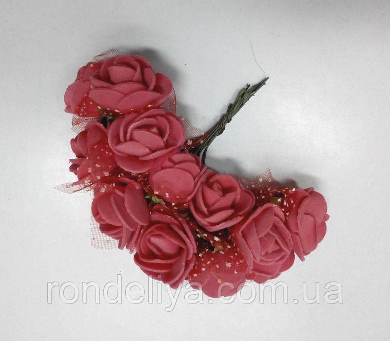 Цветок Роза с фатином красная - Ронделия - страна рукоделия в Харькове
