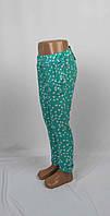 Легкие штапельные штаны для девочки с подворотом, карманом, 5-9 лет цвет: бирюза