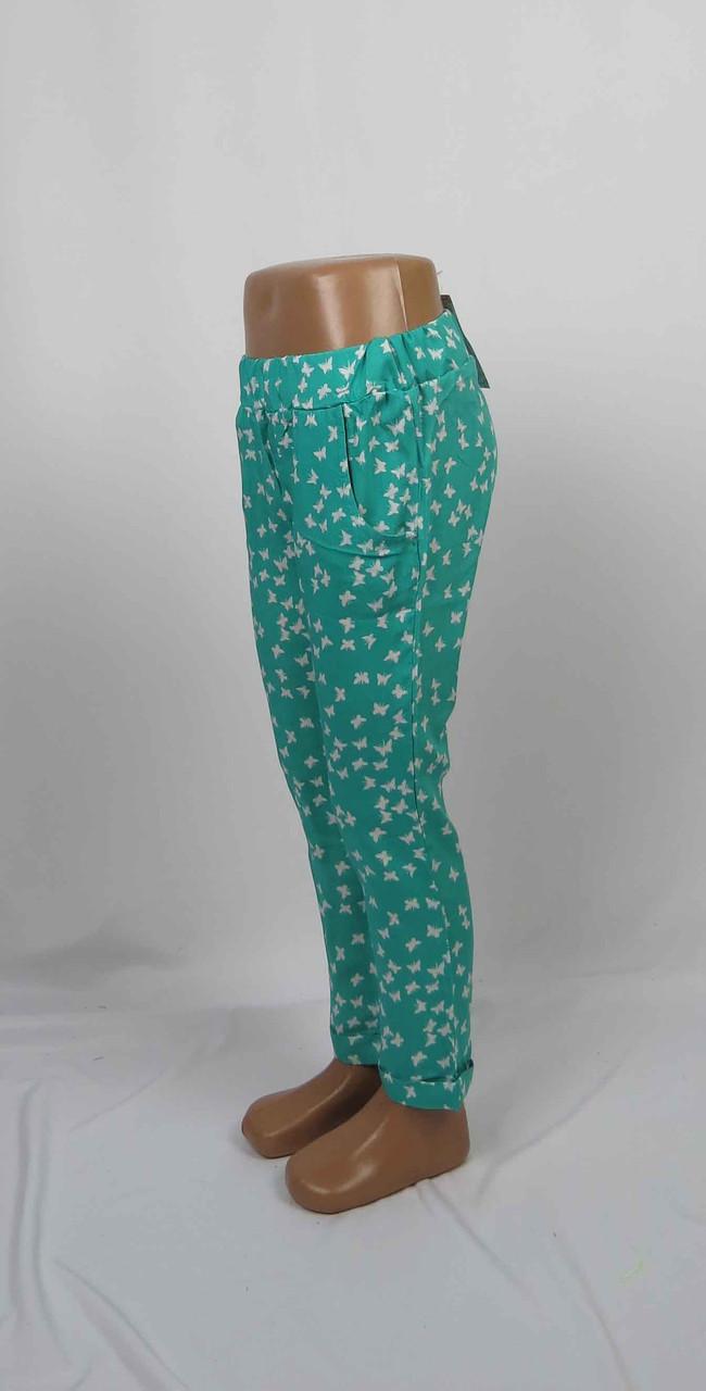Легкие штапельные штаны для девочки с подворотом, карманом, 5-9 лет цвет: бирюза, фото 1