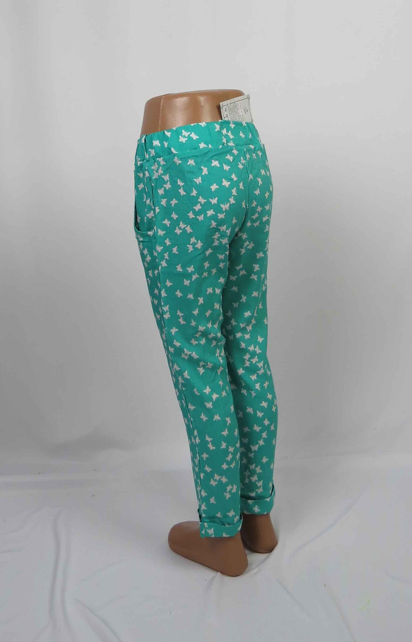 Легкие штапельные штаны для девочки с подворотом, карманом, 5-9 лет цвет: бирюза, фото 2