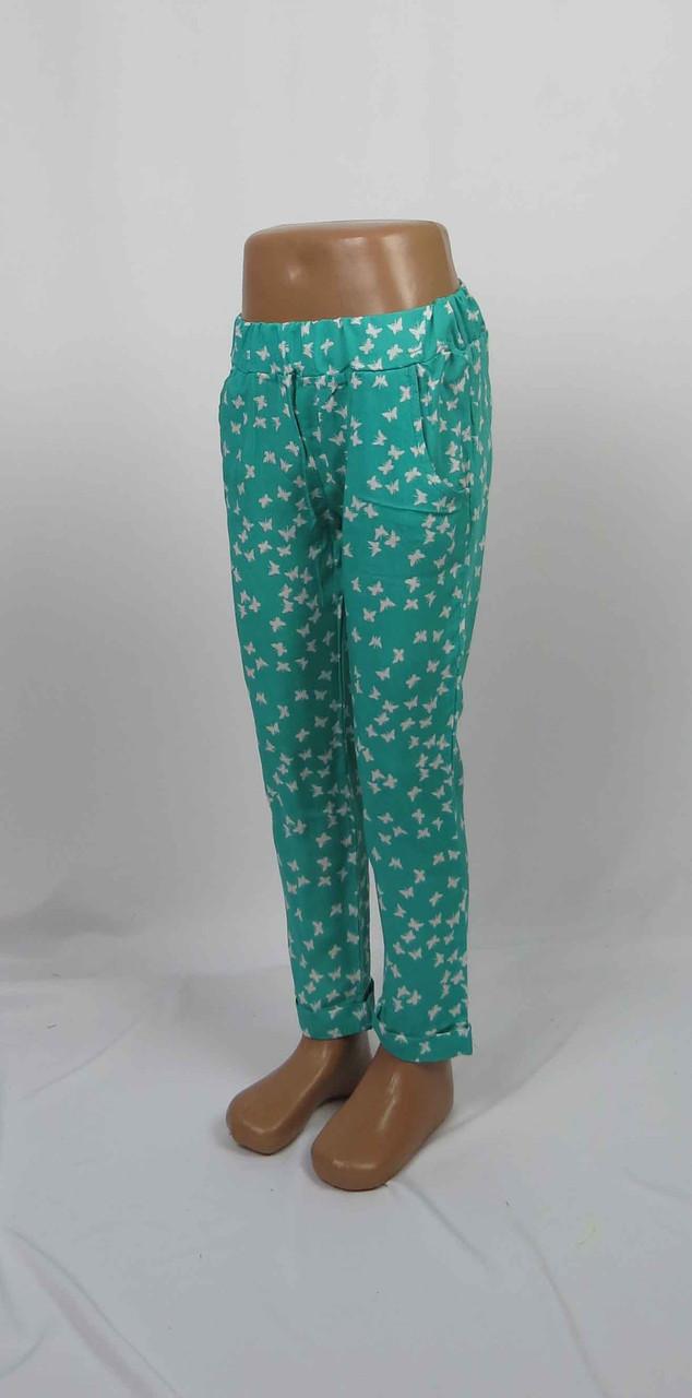 Легкие штапельные штаны для девочки с подворотом, карманом, 5-9 лет цвет: бирюза, фото 3