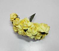 Цветок Роза бумажная желтая