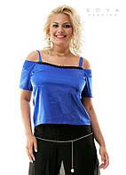 Блузка женская летняя Атласная синяя БАТАЛ