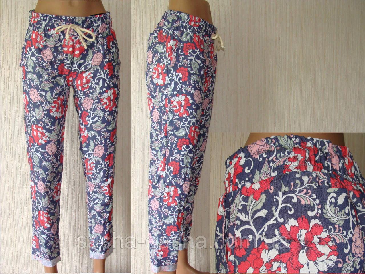 Женские брюки, штаны на резинке, легкие, летние