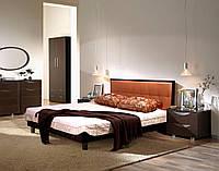 Кровать 1,6х2 Мадлен, венге/Неаполь N-26, обклад венге, ножки прямоугольник бук, венге