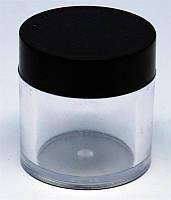 Баночка для геля круглая прозрачная с черной крышкой 20 мл, YRE