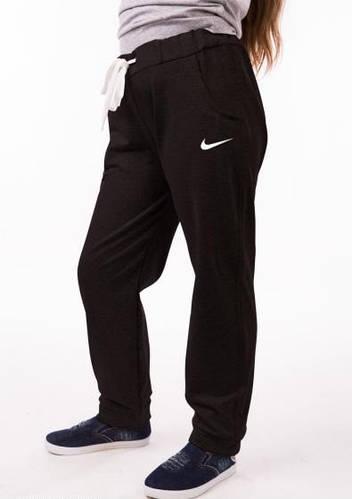 Спортивные штаны детские Nike (Найк) для девочки на манжетах черные трикотажные двунитка Украина