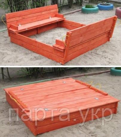 Детская деревянная песочница с крышкой Тоник 150 см
